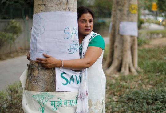 "A woman hugs a tree during ""Save The Tree Campaign"" in New Delhi"